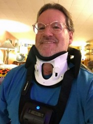 Joe Thornton in a neck brace